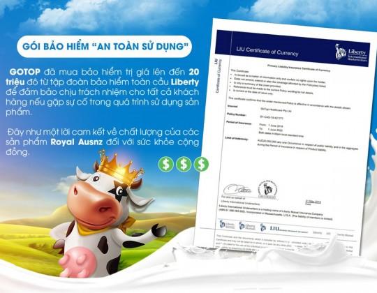 Tại sao sữa hoàng gia Úc Royal Ausnz lại mua gói bảo hiểm lên đến 20 triệu đô?