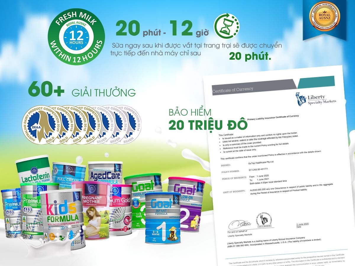 Sữa Hoàng Gia Royal AUSNZ và những con số ấn tượng